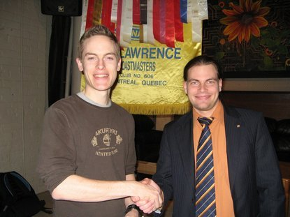 Wyatt being welcomed by club president Mathieu Savage